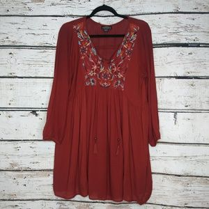 Angie/ Orange Embroidered Boho Tunic/ Large